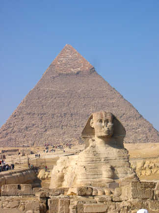 Le sphinx et la grande pyramide d'Egypte