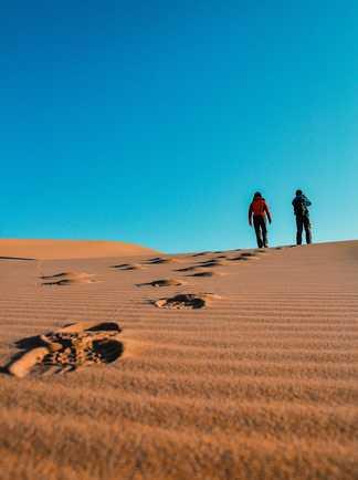 Randonneurs dans le désert de Gobi