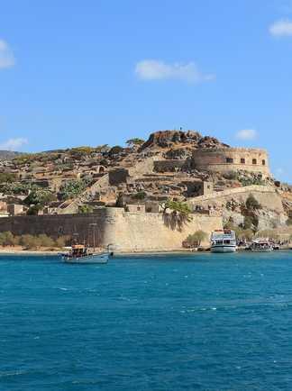 Spinalonga île forteresse en Crète dans le golfe de Mirabello
