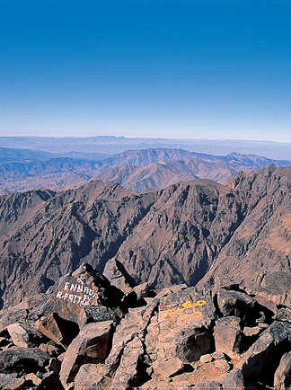 Vue depuis le sommet du Toubkal, Maroc