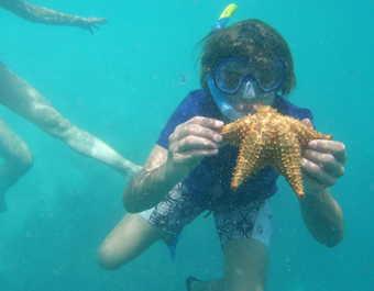 Enfant en apnée et tenant une étoile de mer
