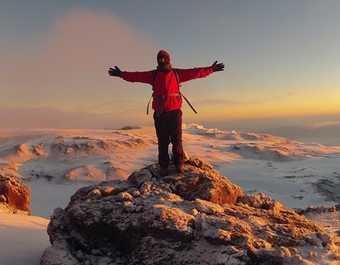 La vue sur le cratère du Kibo