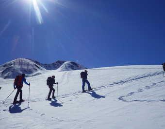 Montée en raquettes jusqu'au  Velke Biele Pleso, Slovaquie, Tatras