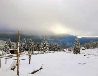 Paysage enneigé Monts des Géants, Republique Tchèque
