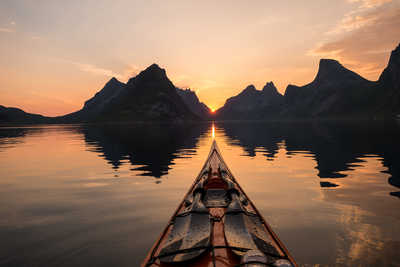 Kayak de mer aux Lofoten, Norvège