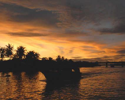 Coucher de soleil sur le delta du Mékong
