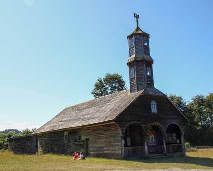 Eglise en bois typique sur l'île de Chiloé