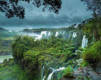 Les chutes d'Iguazu dans une végétation luxuriante, entre Argentine et Brésil