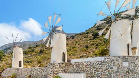 Moulins à vent à Lassithi en Crète