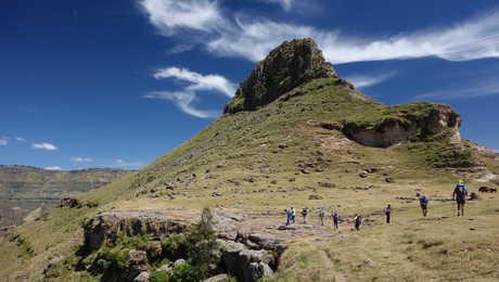 Randonneurs pendant l'ascension de l'Abune Yosef en Ethiopie
