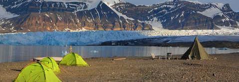 Camp dau glacier Svéa, Svalbard