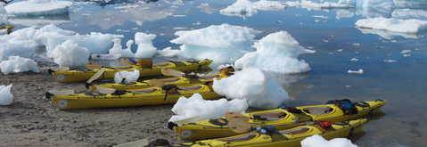 Kayak parmi les icebergs, Groenland