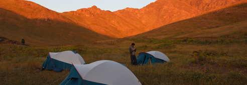 Campement et coucher de soleil à Oukaïmden, haut Atlas occidental