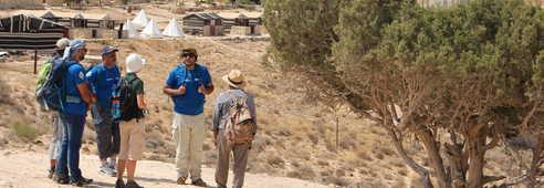 Voyageurs et campement dans la réserve de Dana