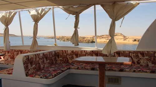 Pont supérieur de notre bateau , Lac Nasser, Egypte