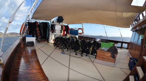 Zone plongée et équipement attendent les plongeurs sur l'Aurora