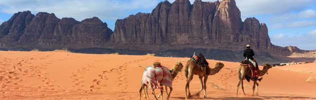 Caravane bédouine dans le désert de Wadi Rum en Jordanie