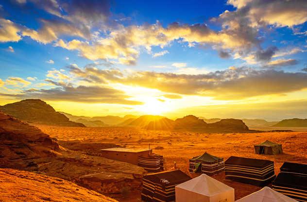 Coucher de soleil au campement dans le Wadi Rum