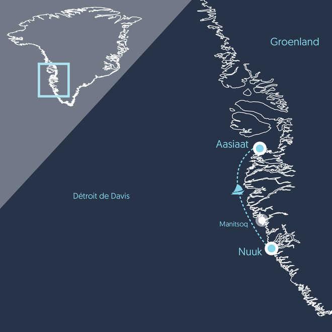 Carte de voyage au Groenland, itinéraire croisière voilier côte Ouest