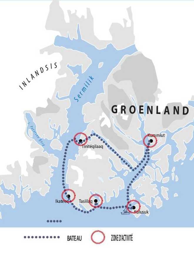 Carte de voyage croisière au Groenland