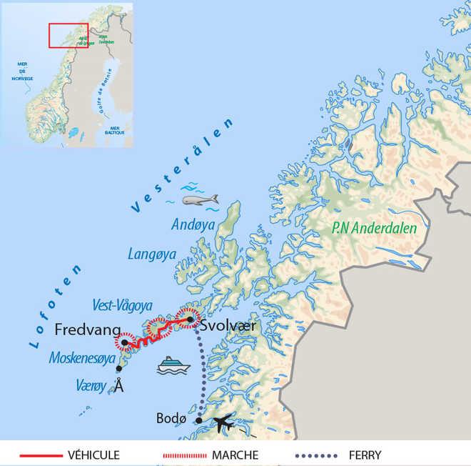 Carte de voyage dans le Nord de la Norvège l'hiver en raquettes