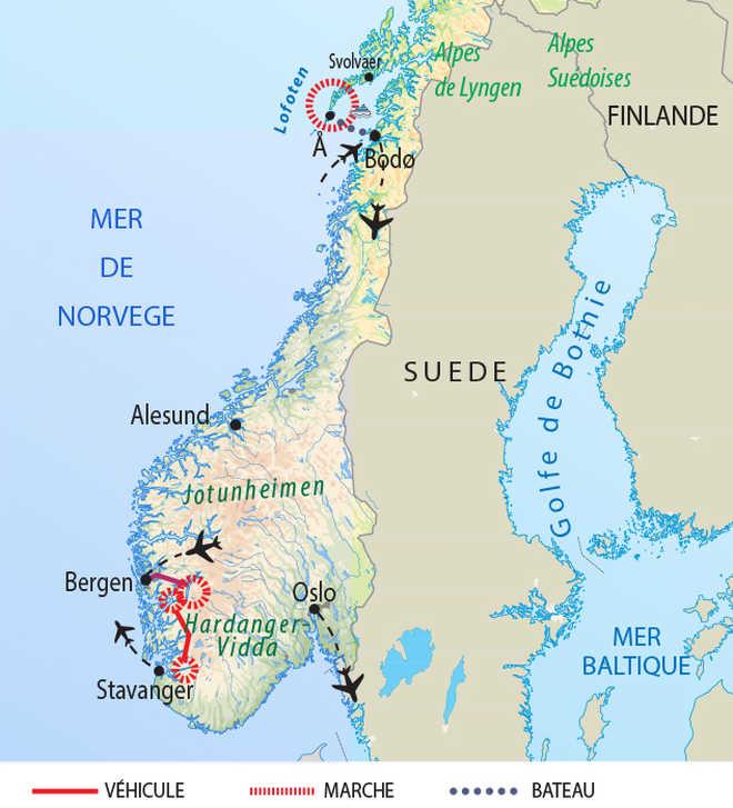 Carte de voyage en Norvège du Sud au Nord