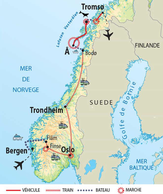 Carte de voyage en Norvège du Nord au Sud en train et rando