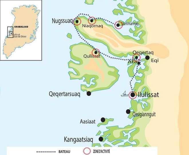 Carte de voyage rando au groenland