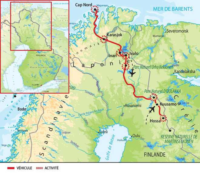 Carte détaillée du voyage en Laponie Norvège et Finlande