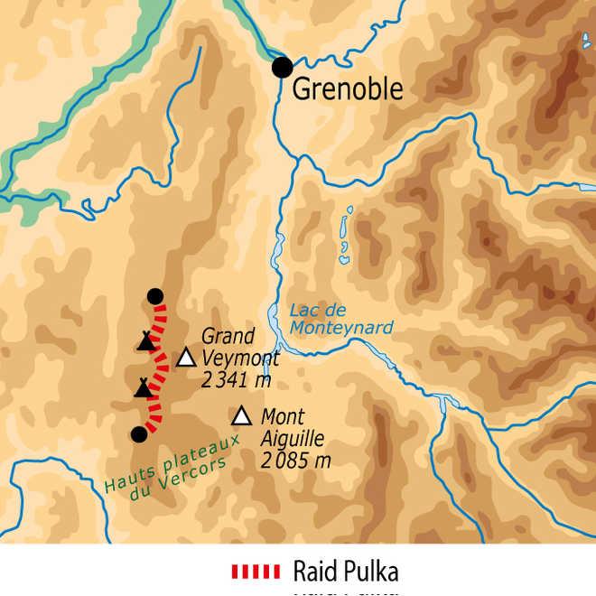 Carte du raid hivernal dans le Vercors