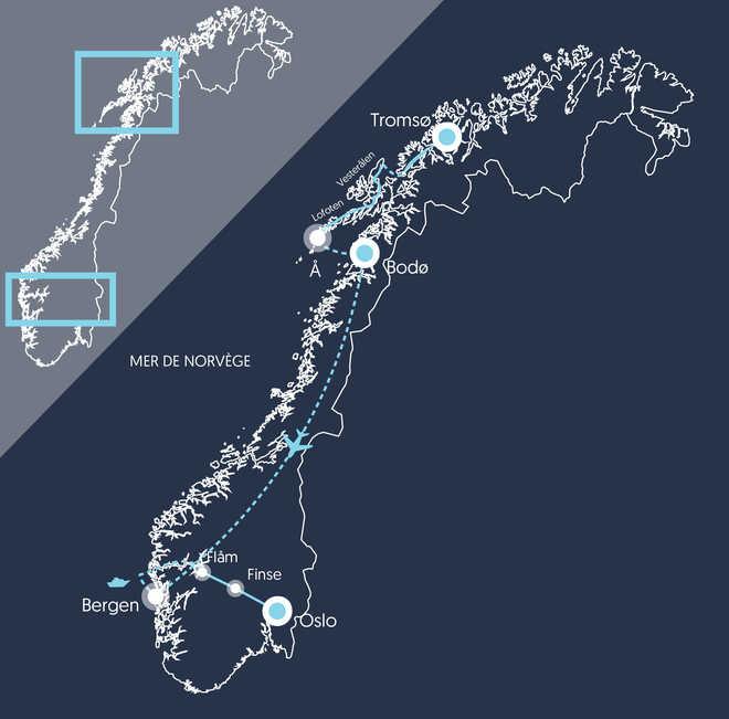 Carte du voyage de la Norvège du Nord au Sud
