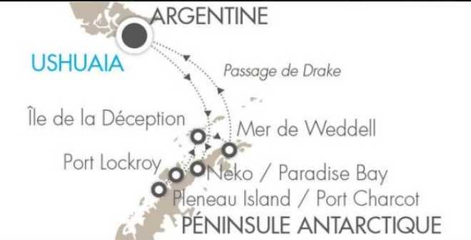 Carte Voyage Antarctique
