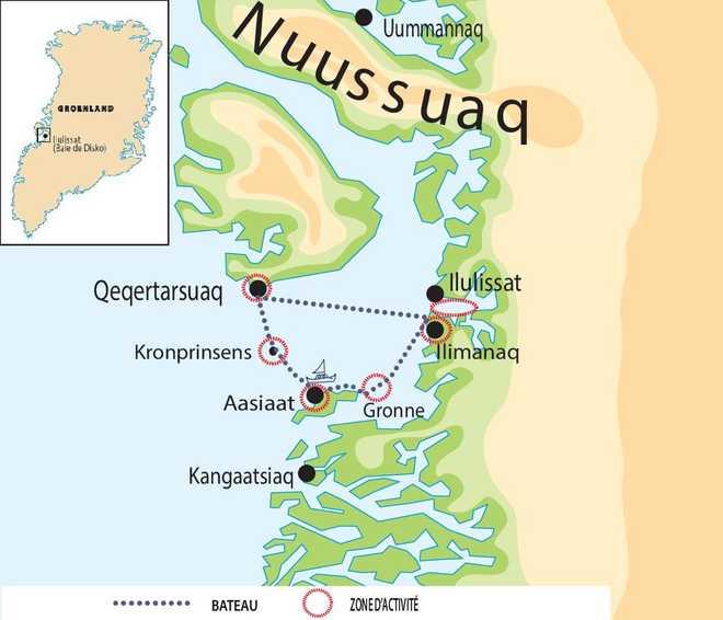 Carte voyage au Groenland