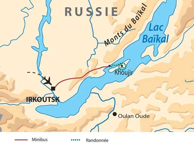 Carte voyage au lac Baïkal