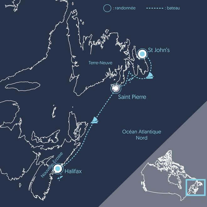 Carte voyage croisière voilier Nouvelle-Écosse et Terre-Neuve