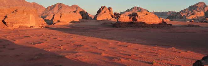 Paysage du désert du Wadi Rum en Jordanie