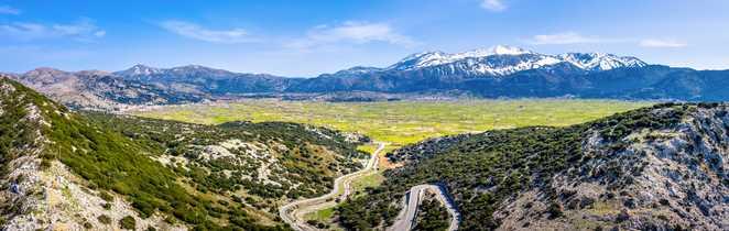 Vue panoramique sur le plateau de Lassithi en Crète