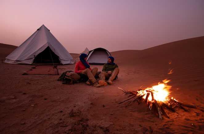 Campement dans le désert marocain