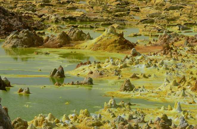 Couleur du volcan Dallol en Ethiopie
