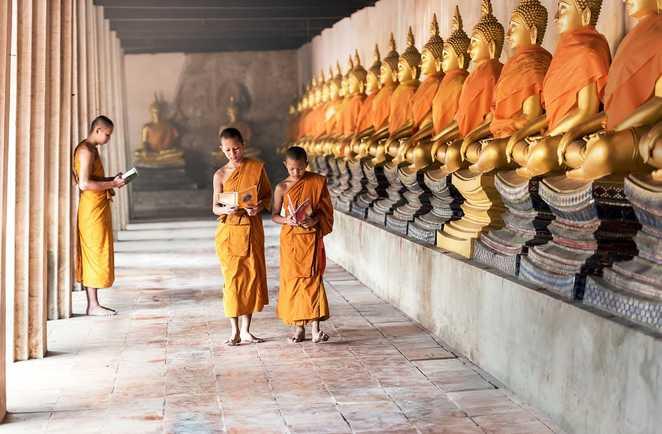 Des moines dans un temple en Thailande
