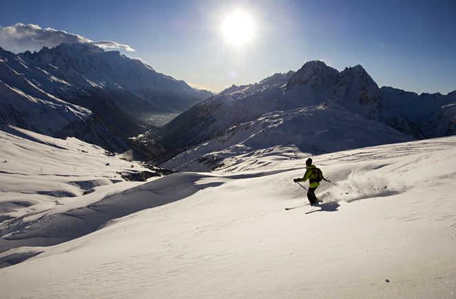 descente en ski de randonnée, massif de la Balme, Alpes