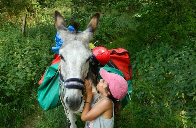 Enfant caressant un âne