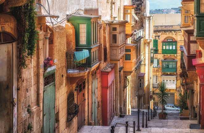 Un quartier de la ville de La Valette, Malte