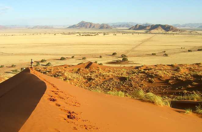 Le paysage à perte du vue du sommet d'une dune du désert du Namib
