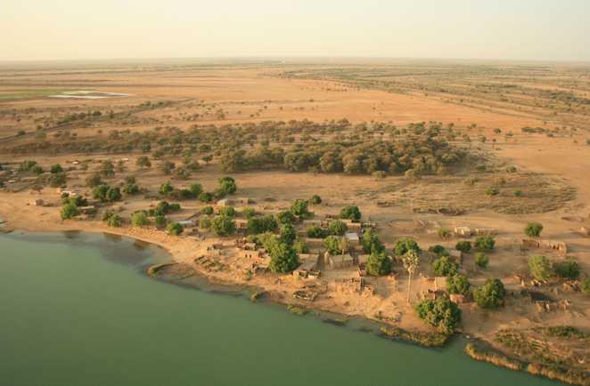 Les rives du fleuve Sénégal vues du ciel