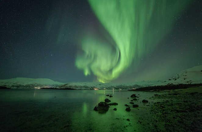 Observation des aurores boréales près de Tromso en Norvège