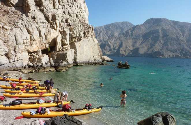 Pause crique Musandam, Kayak, Oman