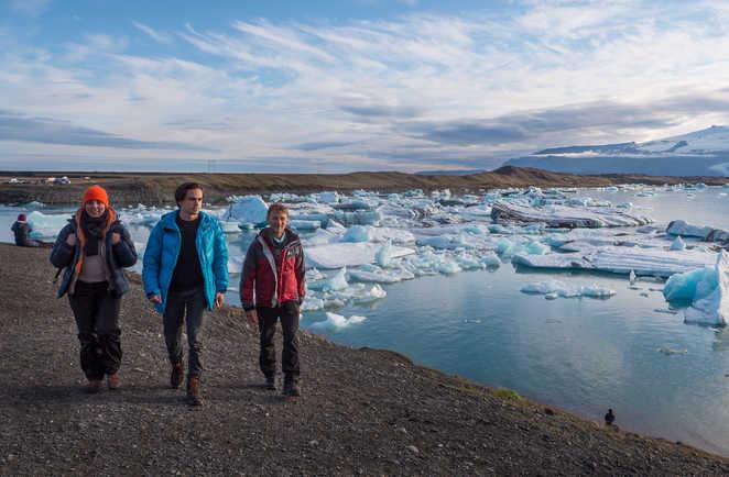 Randonneurs à Jokulsarlon en Islande