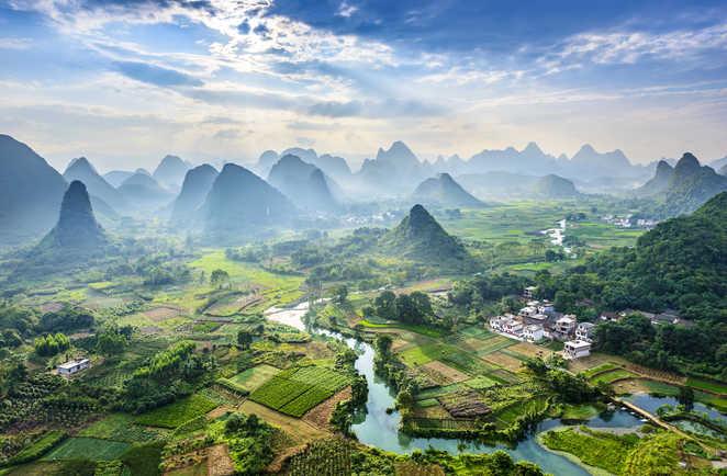 Rivière Li et montagnes de Guilin, Guangxi, Chine